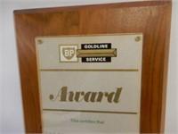 BP GOLDLINE SERVICE CLUB AWARD PLAQUE