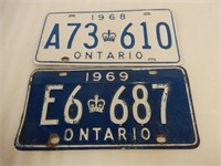 LOT OF 2 1960'S ONTARIO EMBOSSED LICENSE PLATES