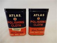 LOT OF ATLAS WAX & 2 POLISHING CLOTH TINS