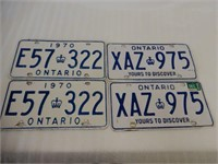 LOT OF 2 SETS OF  ONTARIO EMBOSSED LICENSE PLATES