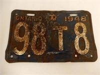 RARE 1948 ONTARIO EMBOSSED LICENSE PLATE