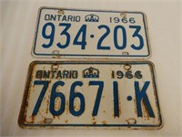 LOT OF 2 1966 ONTARIO EMBOSSED LICENSE PLATES