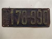1925 ONTARIO EMBOSSED LICENSE PLATE