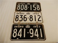 LOT OF 3 ONTARIO 1960'S EMBOSSED LICENSE PLATES