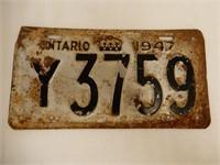 1947 ONTARIO EMBOSSED LICENSE PLATE