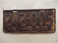 1927 ONTARIO EMBOSSED LICENSE PLATE