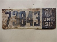 1917 ONTARIO LICENSE PLATE