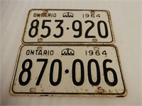 LOT OF 2 1964 ONTARIO EMBOSSED LICENSE PLATES