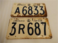 LOT OF 2 1949 ONTARIO EMBOSSED LICENSE PLATES