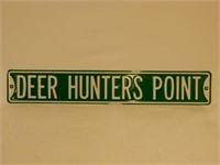 DEER HUNTERS POINT EMBOSSED ROAD SIGN - NEW