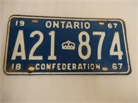 1967 ONTARIO CONFEDERATION EMBOSSED LICENSE PLATE