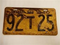 1940 ONTARIO EMBOSSED LICENSE PLATE