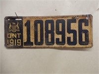 1919 ONTARIO LICENSE PLATE