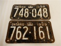 LOT OF 2 1959 ONTARIO EMBOSSED LICENSE PLATES