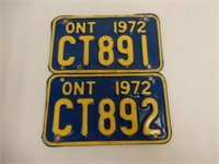LOT OF 2 1972 ONTARIO  MOTORCYCLE LICENSE PLATES