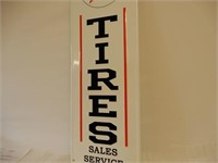 TEXACO TIRES S/S PAINTED METAL EMBOSSED SIGN