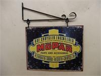 MOPAR PARTS 2 SIGNS BACK TO BACK / HANGING BRACKET