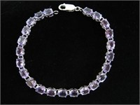 STERLING SILVER 7X5MM GENUINE AMETHYST TENNIS