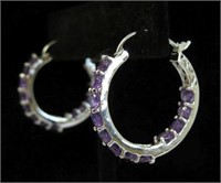 STERLING SILVER GENUINE AMETHYST HOOP EARRINGS,