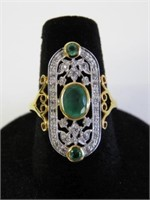 STERLING SILVER YELLOW GOLD PLATED GENUINE EMERALD
