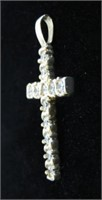 10KT YELLOW GOLD CZ CROSS PENDANT