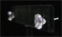 10KT WHITE GOLD 8MM GENUINE AMETHYST EARRINGS,
