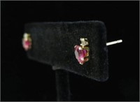 10KT YELLOW GOLD SYNTHETIC RUBY & CZ HEART