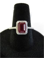 STERLING SILVER 8X6MM GENUINE RUBY (1.6CTS) & CZ
