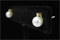 14KT YELLOW GOLD 6MM GENUINE CULTURED PEARL &