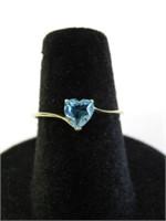 10KT YELLOW GOLD GENUINE BLUE TOPAZ HEART RING
