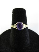 10KT YELLOW GOLD 7X5MM GENUINE AMETHYST & DIAMOND