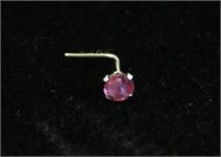 14KT WHITE GOLD GENUINE RUBY NOSE PIN