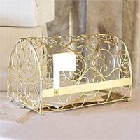 GOLD METAL SCROLL GIFT CARD MAILBOX