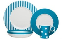 RED VANILLA TURQUOISE 4PC PLACE SETTING