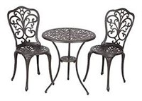 3-PIECE PATIO SET BLACK AND GOLD (NOT ASSEMBLED)