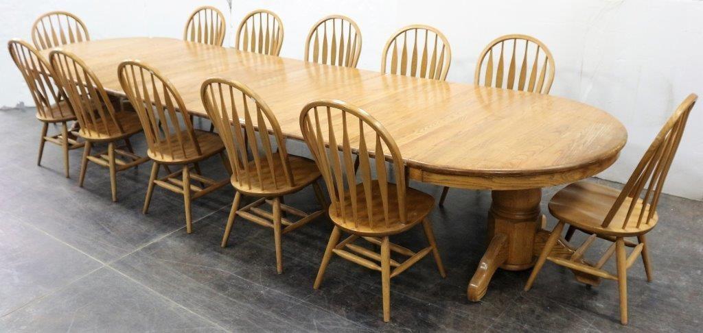Extra Long Heavy Oak Farmhouse Table 12 Chairs Idaho