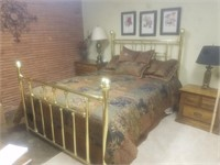 QUEEN-SIZE BRASS BED FRAME
