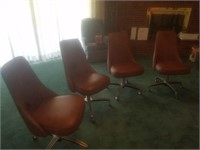 4 HYBACK LEATHER CHAIRS ON CASTERS
