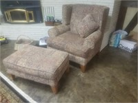 LARGE CHAIR AND OTTOMAN MADE IN USA BY HICKOTY HILL