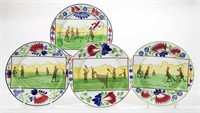 Rare Rabbitware plates with sports-themed decoration