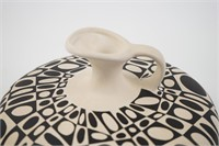 Black and white painted pot by Ann Williams