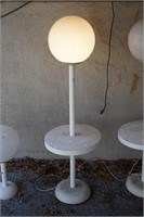 2 plastic Globe floor lamps and 1 table lamp