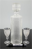 Studed Glass Decanter with matching glasses