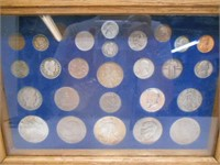 Large Coin Collection In Shadow Box