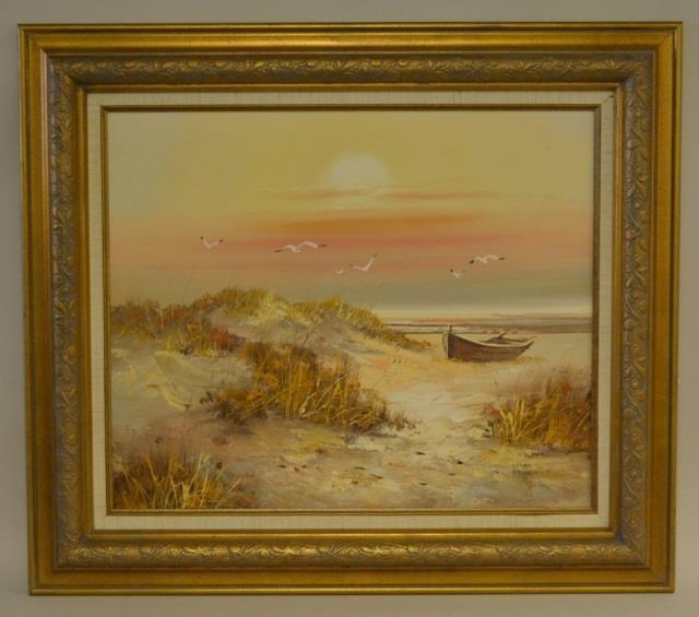 Dunes Oil Painting On Canvas Signed Villanova | Kraft