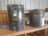 VINTAGE METAL BALLOT CANS