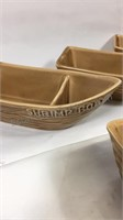 Set of 4 ceramic shrimp boats