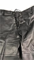 Black leather lace up pants size 34