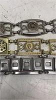 Lot of 3 metal fashion belts 45in long