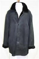 Men's Black Sheep Skin lined suede coat size Large